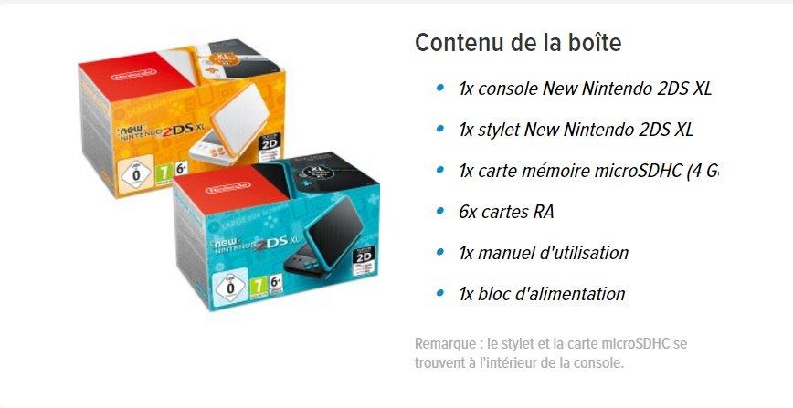 Contenu de la boite de la New 2DS XL