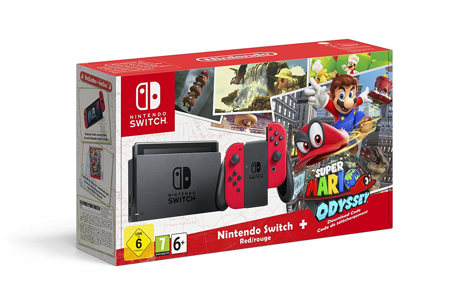 Console Nintendo Switch + Mario Odyssey et ses manettes rouges