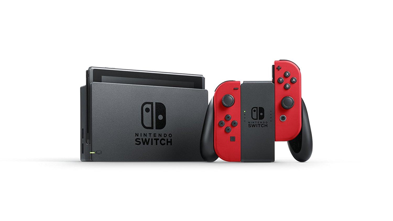 Console Nintendo Switch + Mario Odyssey et ses manettes rouges